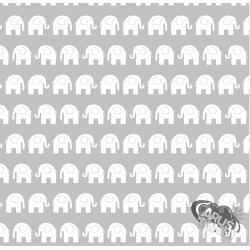 Białe słoniki na szarym tle